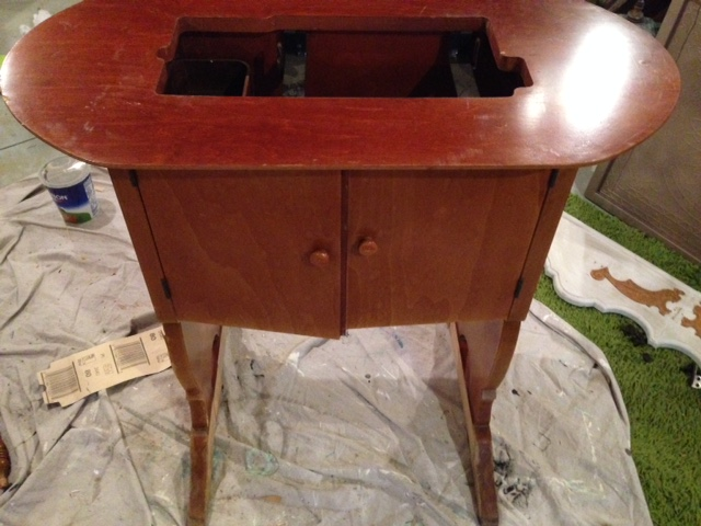 sewing table makeover idea, painted furniture, woodworking projects