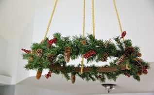 ceiling hung christmas wreath, christmas decorations, crafts, seasonal holiday decor, wreaths