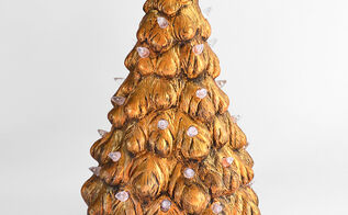 how to make a faux gold leaf tree for christmas, christmas decorations, crafts, seasonal holiday decor