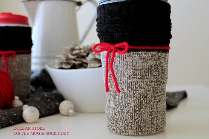 dollar store coffee mug sock cozy how to, crafts, seasonal holiday decor