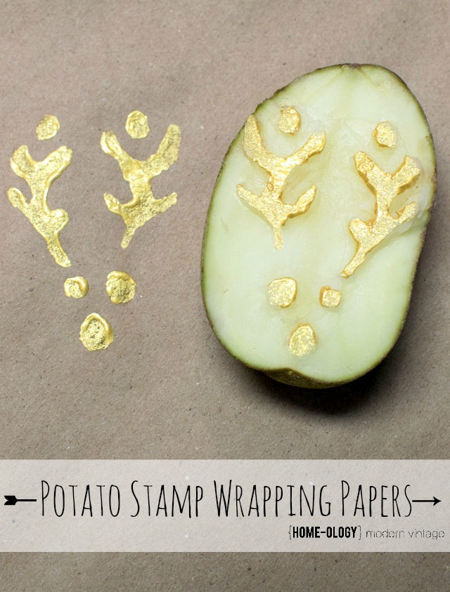 potato stamp wrapping paper, christmas decorations, crafts, seasonal holiday decor