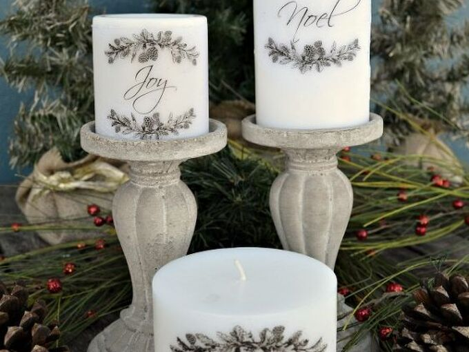 how to add images to candles, christmas decorations, crafts, seasonal holiday decor
