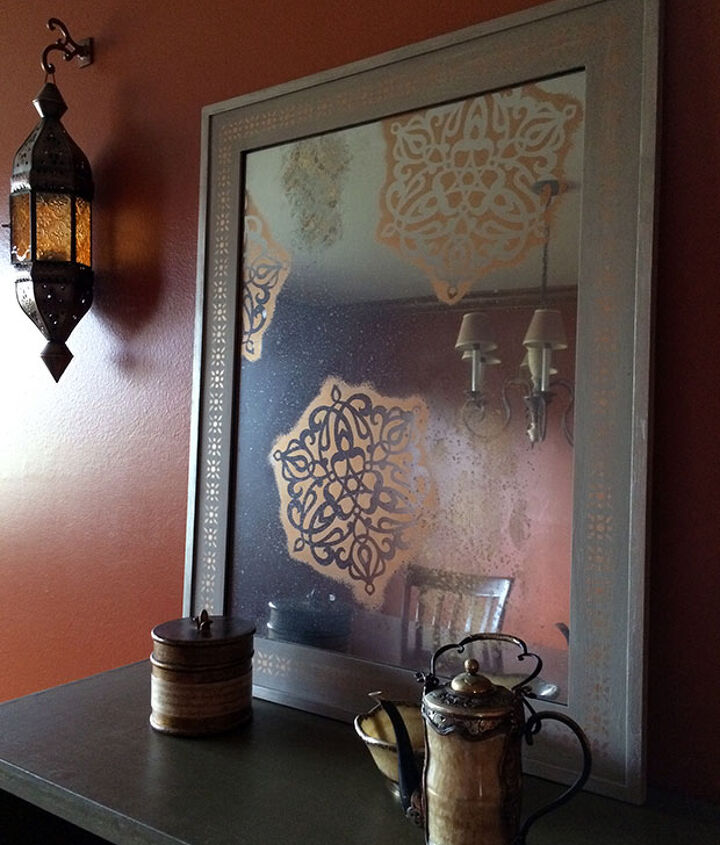 How To Give Your Mirror An Antique Look With Stencils Hometalk