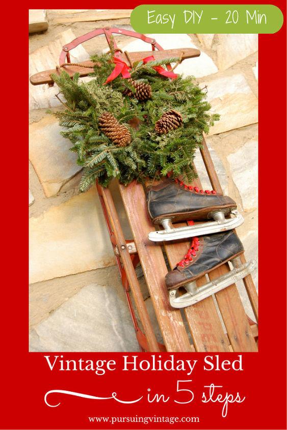 how to make a vintage holiday sled decoration christmas decorations repurposing upcycling seasonal