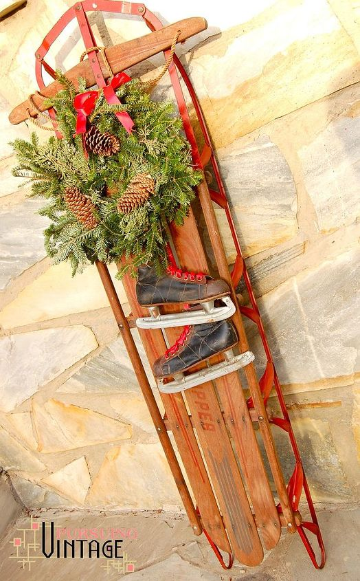 how to make a vintage holiday sled decoration christmas decorations repurposing upcycling seasonal - Vintage Sled Christmas Decoration
