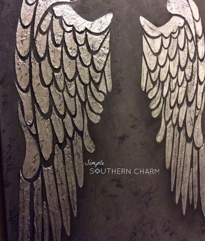 how to make raised relief stenciled angel wings for wall, crafts, painting, wall decor