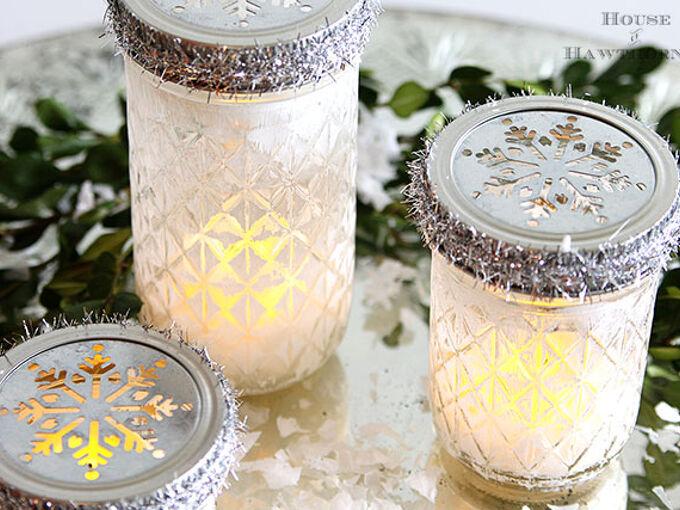 quick and easy christmas luminarias from mason jars, chalk paint, christmas decorations, crafts, mason jars, seasonal holiday decor