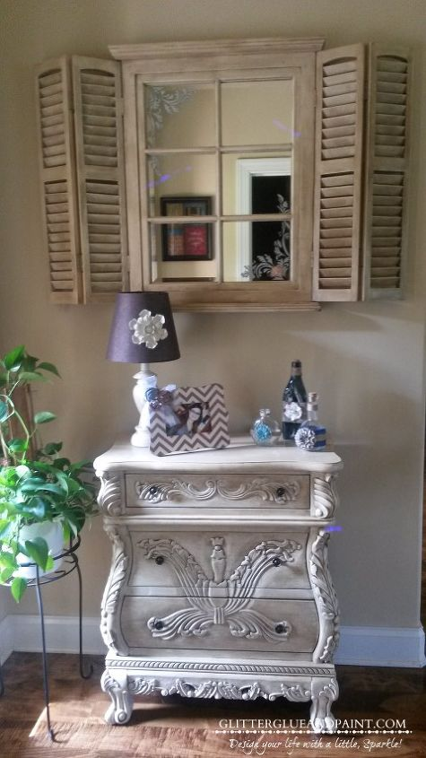 table mirror chalk paint makeover, chalk paint, home decor, painted furniture, shabby chic, Painted entrance table and mirror