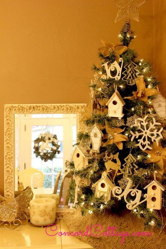 Glittery Birdhouse Ornament Christmas Decorations Crafts Decoupage Seasonal Holiday Decor