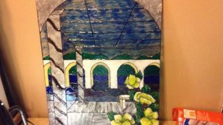 thrift store picture recycled into faux stain glass painted art, crafts, repurposing upcycling, roman garden