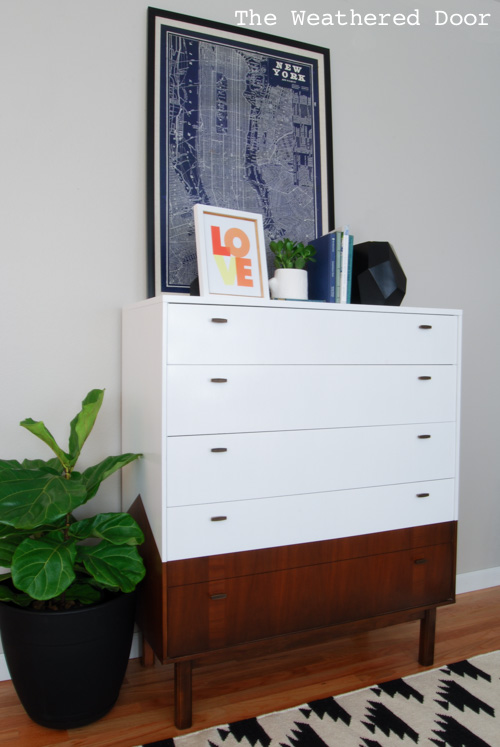 reverse dipped mcm dresser with angled sides, diy, painted furniture, woodworking projects, Reverse Dipped MCM Dresser with Angled Sides