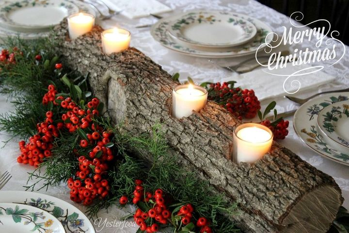 rustic log centerpiece, christmas decorations, seasonal holiday decor, thanksgiving decorations