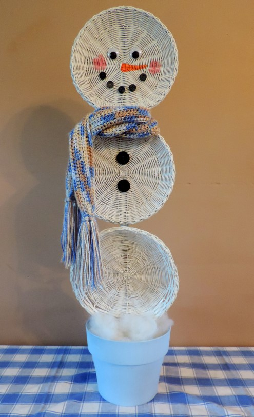 easy christmas crafts an upcycled basket snowman, christmas decorations, crafts, repurposing upcycling, seasonal holiday decor