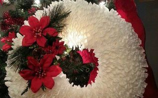 coffee filter wreath, christmas decorations, crafts, repurposing upcycling, seasonal holiday decor, wreaths