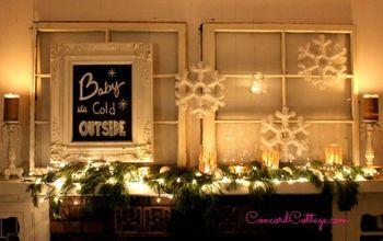snowy christmas mantel, christmas decorations, fireplaces mantels, seasonal holiday decor
