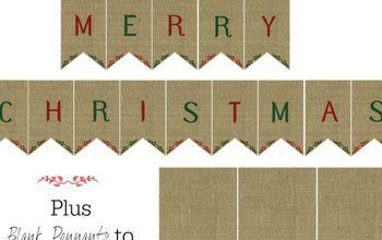 Printable Burlap Banner for Christmas!