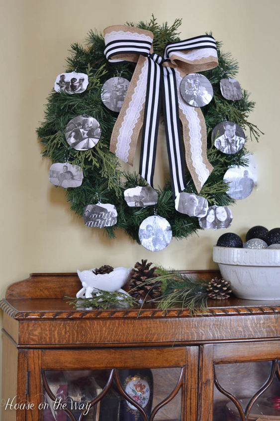 diy photo collage christmas wreath filled with personalized ornaments, christmas decorations, crafts, seasonal holiday decor, wreaths