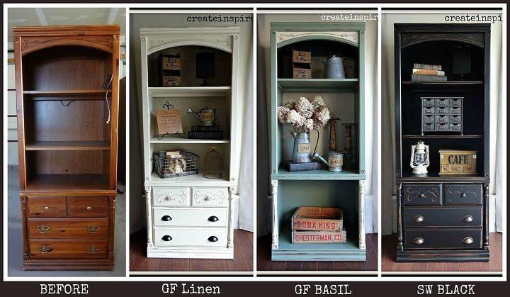 same bookcase 3 different ways, paint colors, painted furniture, repurposing upcycling