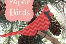 paper birds, christmas decorations, crafts, seasonal holiday decor