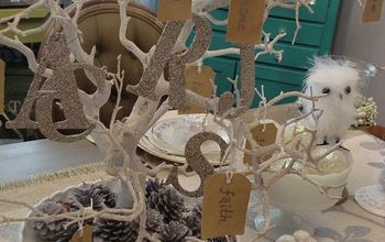 blessing tree winter whimsy tablescape, christmas decorations, crafts, repurposing upcycling, seasonal holiday decor