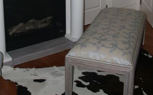 old coffee table gets a high end upcycle, painted furniture, repurposing upcycling, reupholster, woodworking projects