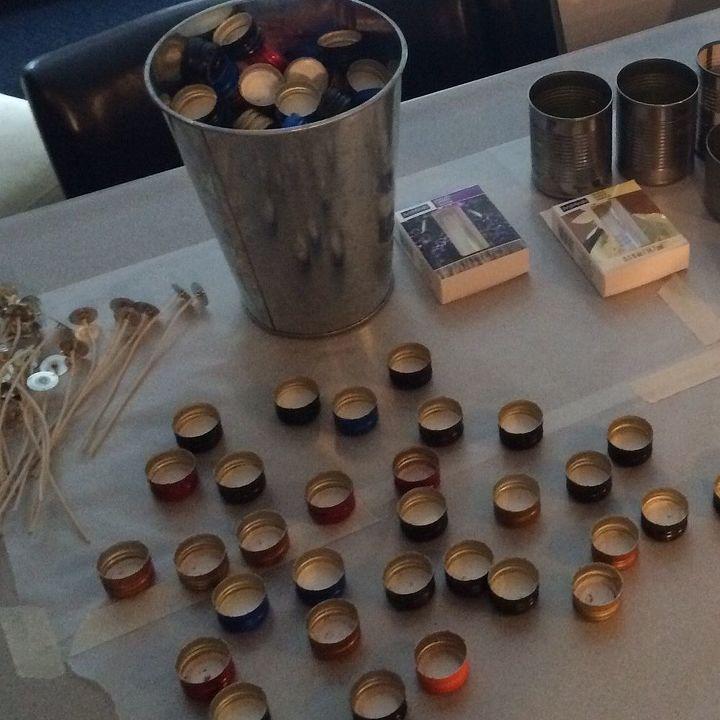 wine cap tea light candles, crafts, repurposing upcycling