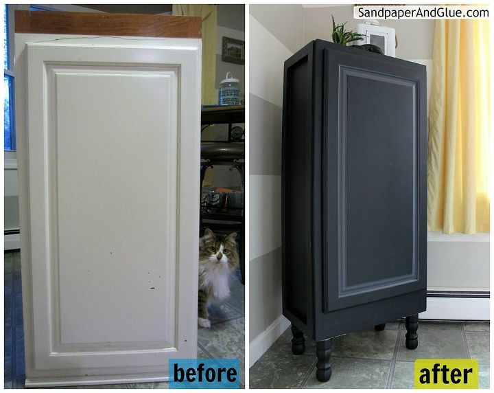 Repurposed Furniture Kitchen Upper Cabinet To Stylish Storage Painted Repurposing Upcycling