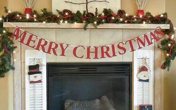 diy rustic christmas mantel, christmas decorations, crafts, fireplaces mantels, seasonal holiday decor