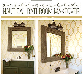 A Stenciled Nautical Bathroom Makeover | Hometalk on kitchen flooring ideas, small galley kitchen design ideas, kitchen floor makeovers, kitchen area rugs, kitchen painted floor stencil, kitchen floor tile, stained concrete floor ideas,