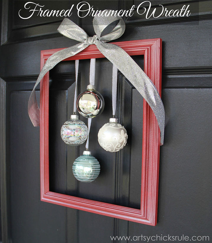 diy framed ornament wreath hometalk