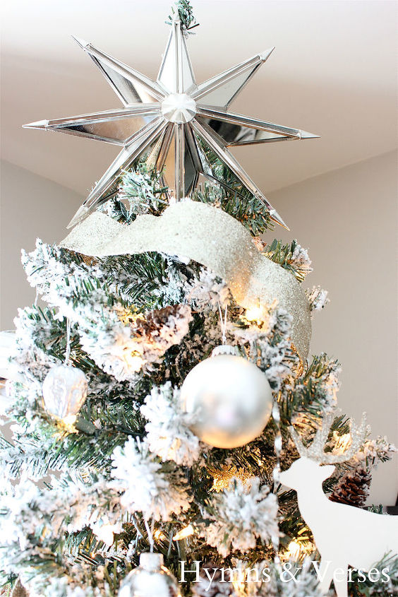 how to make a silver and white flocked christmas tree christmas decorations crafts