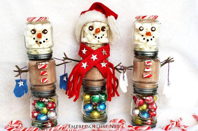 Hot Chocolate Snowman With Baby Food Jars
