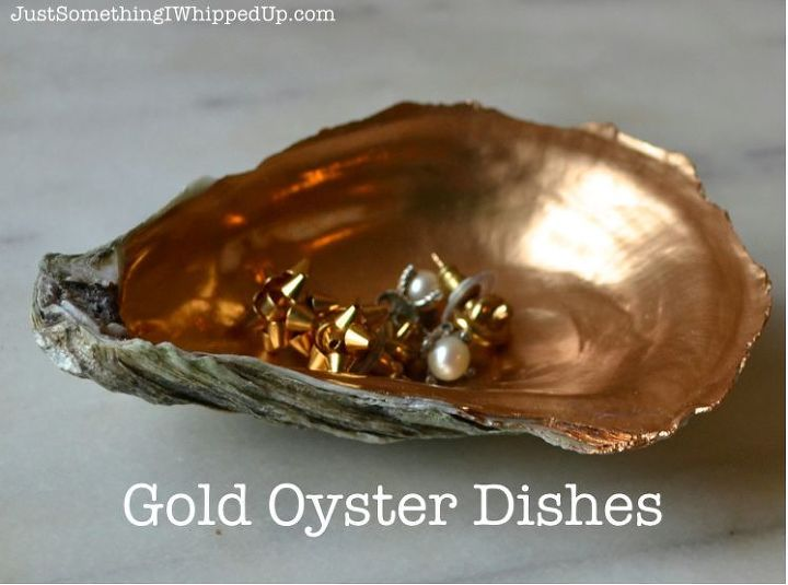 how to make a quick gift gold oyster dish, crafts, home decor, repurposing upcycling