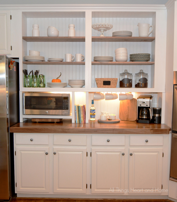 """Built Kitchen Cabinets: """"Built-In"""" Cupboard W/ A Microwave Cubby!"""