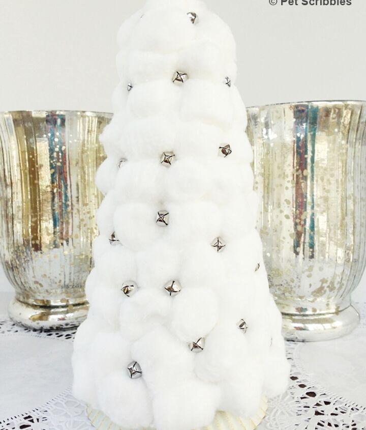 how to make a cotton ball and jingle bell christmas tree, christmas decorations, crafts, repurposing upcycling, seasonal holiday decor