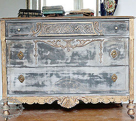Black And Gold Distressed Dresser, Chalk Paint, Painted Furniture