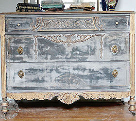 Black And Gold Distressed Dresser, Chalk Paint, Painted Furniture Victoria  Kirton