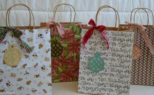 Christmas gift bags in seasonal decor hometalk ideas for diy holiday gift bags christmas decorations crafts decoupage repurposing upcycling negle Gallery