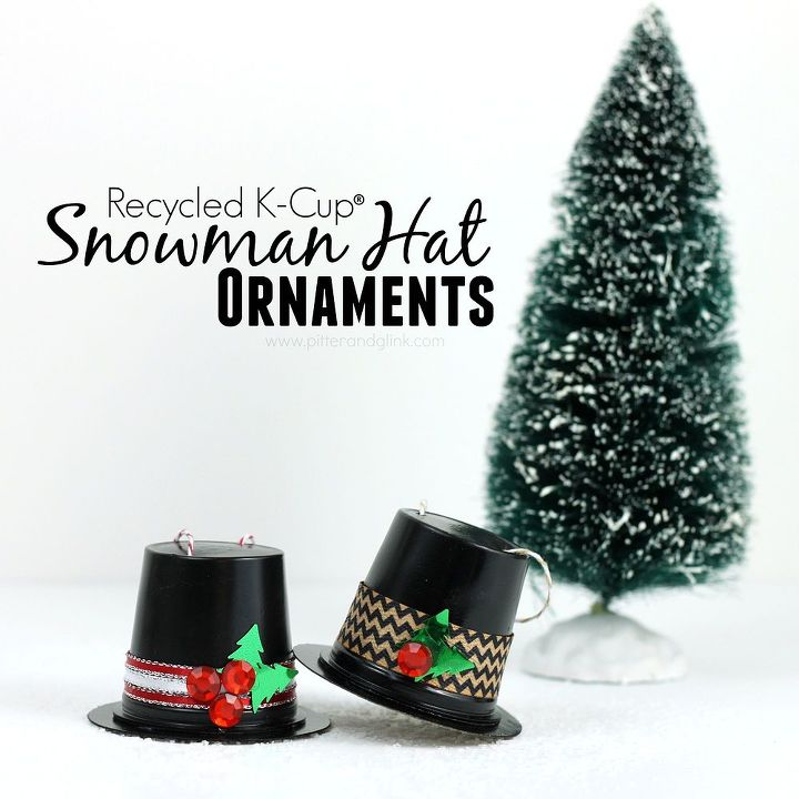 how to make snowman hat ornaments from k cups, christmas decorations, crafts, repurposing upcycling, seasonal holiday decor