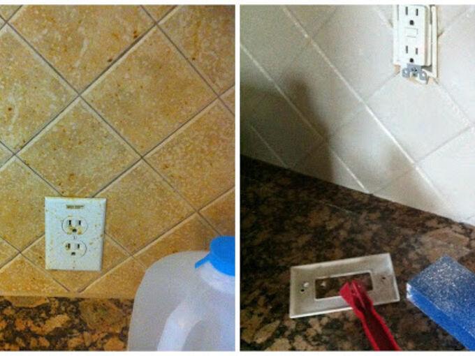 how to paint your backsplash tile, how to, kitchen backsplash, kitchen design, painting