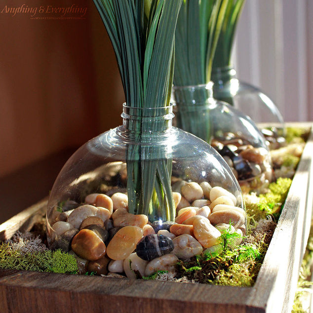Wood Planter Box Using Clear Ornaments As The Vases Christmas Decorations Flowers Repurposing