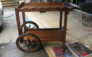 how to make over a vintage tea cart trolley, painted furniture, repurposing upcycling, woodworking projects, Free Tea Cart sanded and washed
