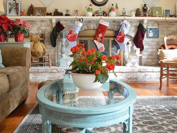 whitewashed brick fireplace for christmas, chalk paint, christmas decorations, fireplaces mantels, hardwood floors, painted furniture, repurposing upcycling, seasonal holiday decor, wall decor