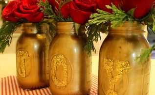 how to make joy gold mason jars, christmas decorations, crafts, mason jars, repurposing upcycling, seasonal holiday decor