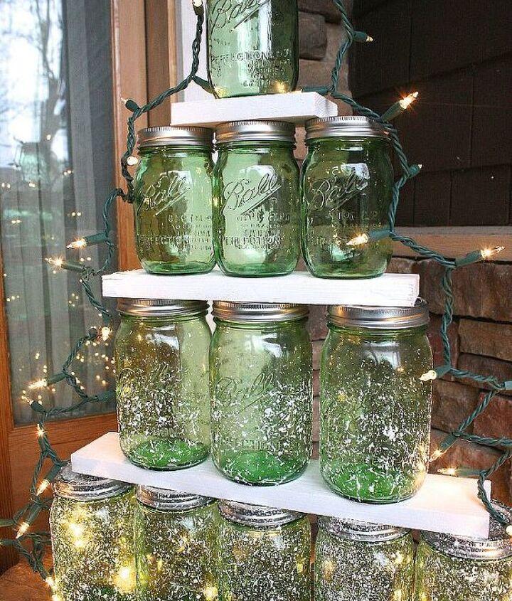how to make a green mason jar christmas tree, christmas decorations, crafts, mason jars, repurposing upcycling, seasonal holiday decor, woodworking projects