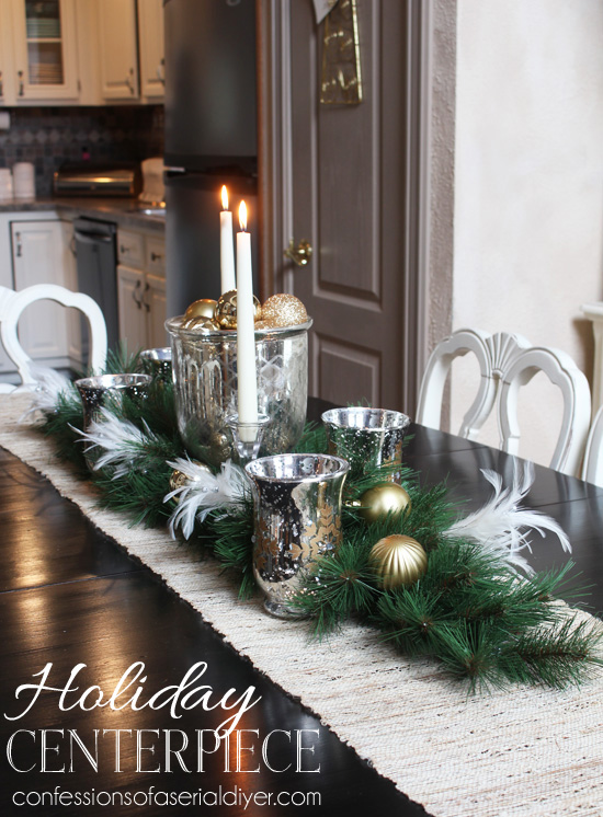 Diy holiday centerpiece hometalk for Christmas craft table decorations