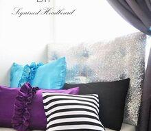 diy sequin headboard from foam core board, bedroom ideas, home decor, repurposing upcycling, reupholster