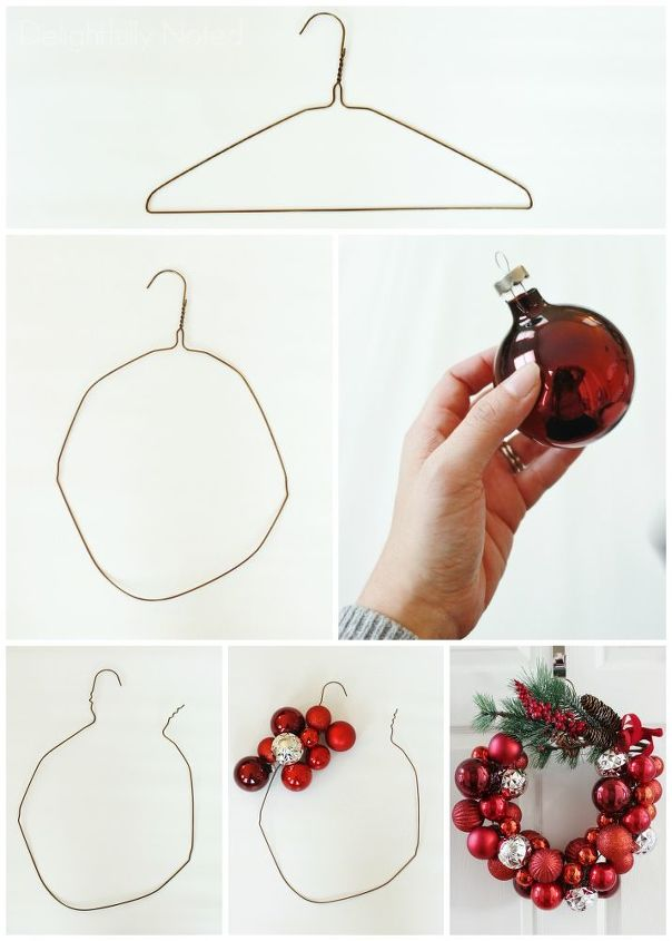 how to make a christmas ornament wreath with a wire hanger, christmas  decorations, crafts
