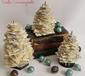 Christmas Tree Spike Part - 23: Vintage Paper Spike Sheet Music Christmas Trees, Christmas Decorations,  Crafts, Repurposing Upcycling,