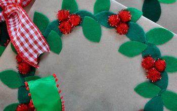 Felt Wreath Gift Wrapping Idea